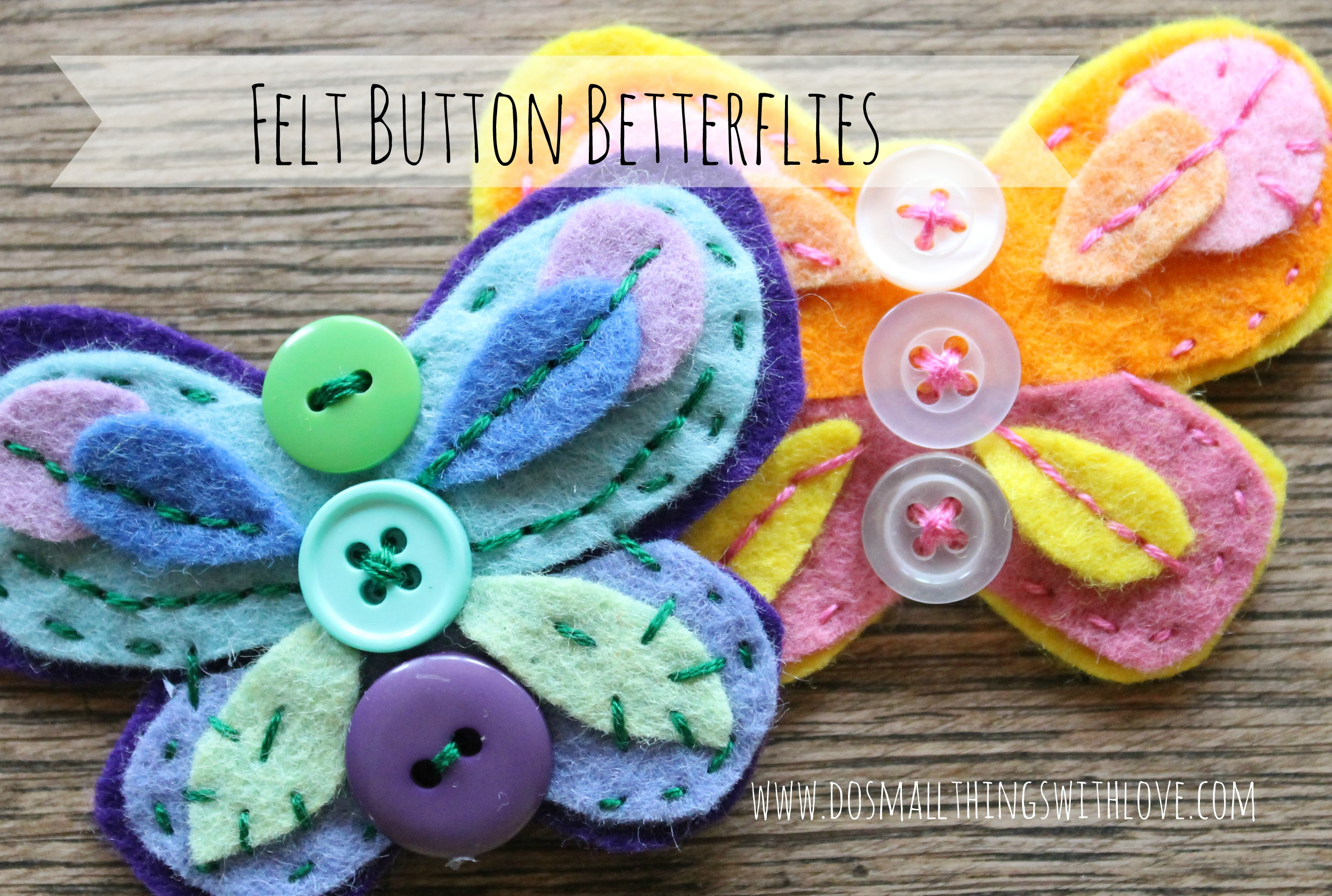 Felt button butterflies do small things with great love - Arbol de fieltro ...