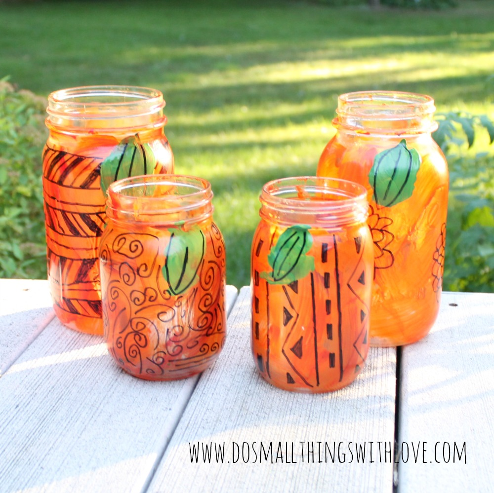freestyle mason jar pumpkin lanterns