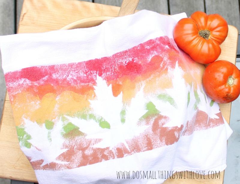 DIY Leaf Stencil Tea Towels