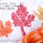 Fall Tea Towels Sponge Stamping