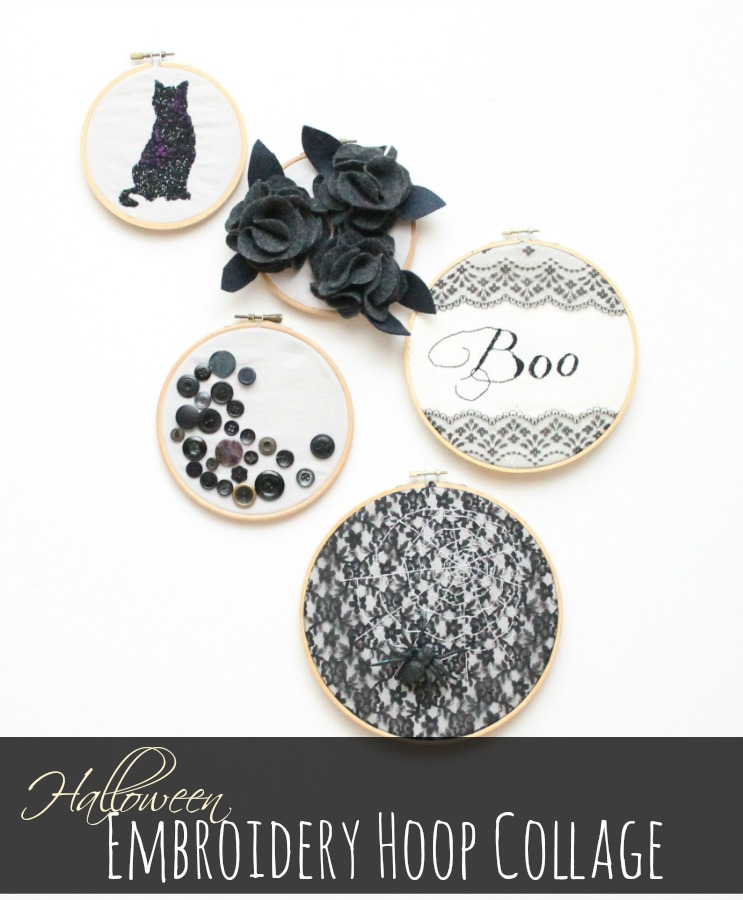 Halloween Embroidery Hoop Collage