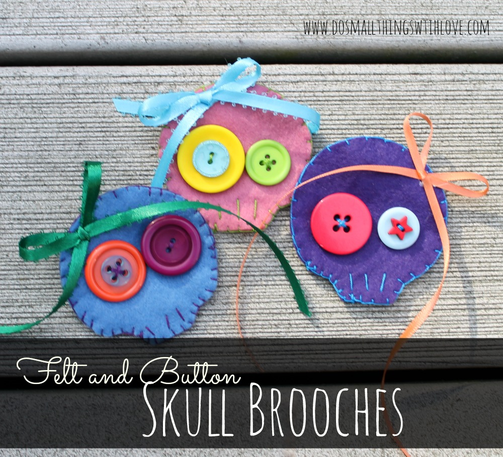 felt and button skull brooches
