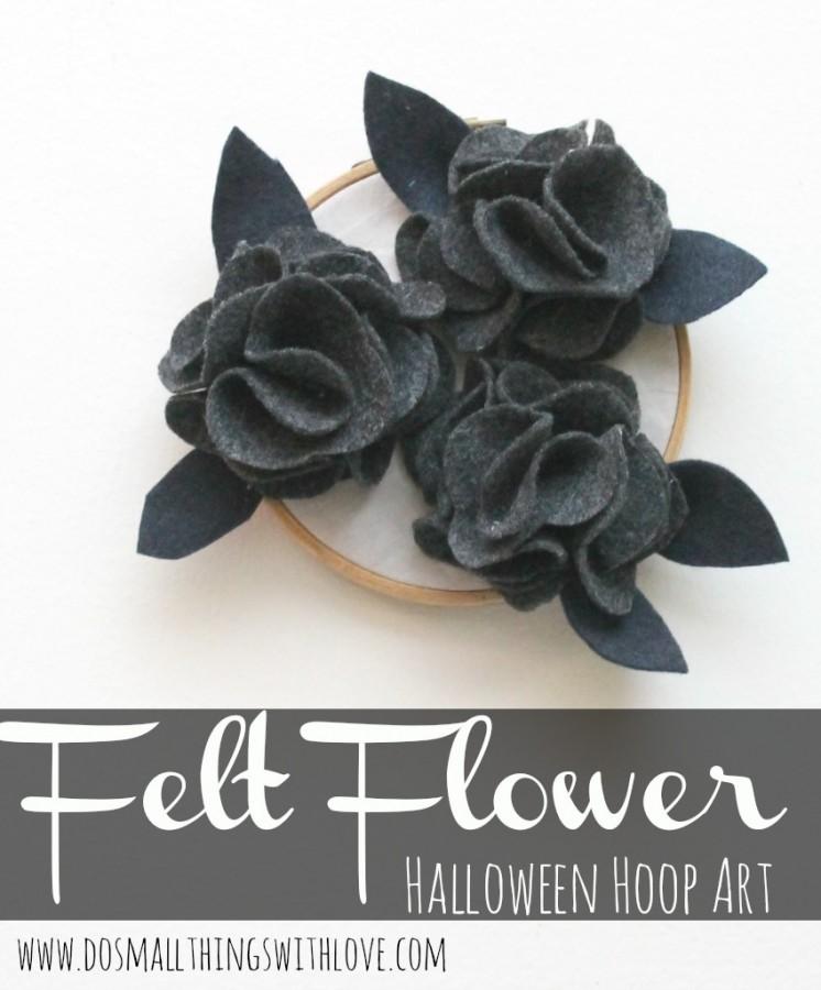 felt flower halloween hoop art