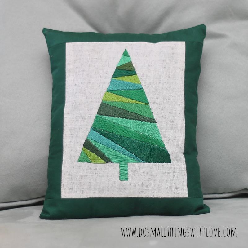Satin Stitch Christmas Tree Pillow 3