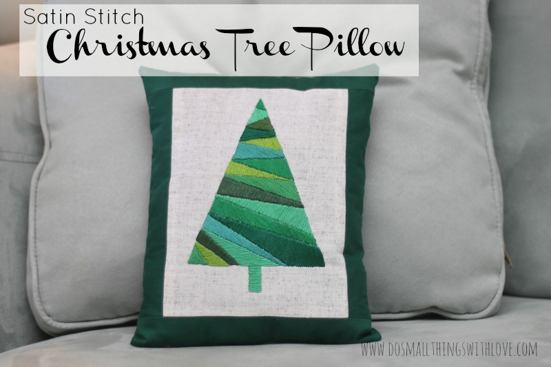 Satin Stitch Christmas Tree Pillow cover