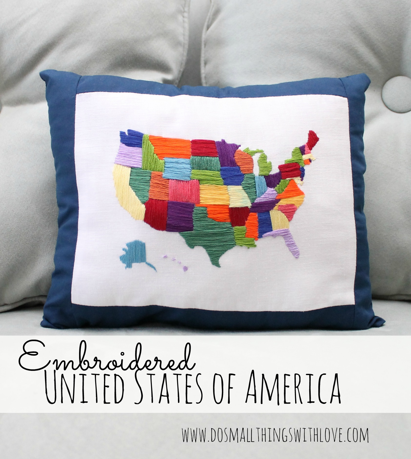 DIY Satin Stitch Map… Love this! #diy #crafts #gifts