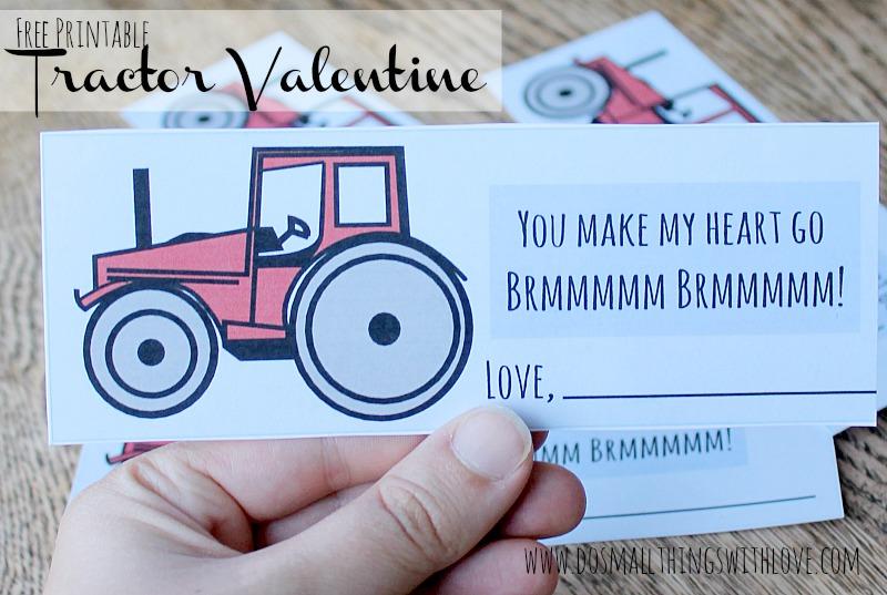 Free printable tractor valentine
