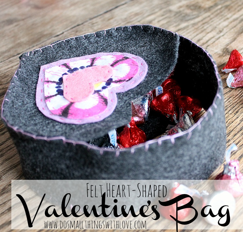 felt heart shaped valentines bag