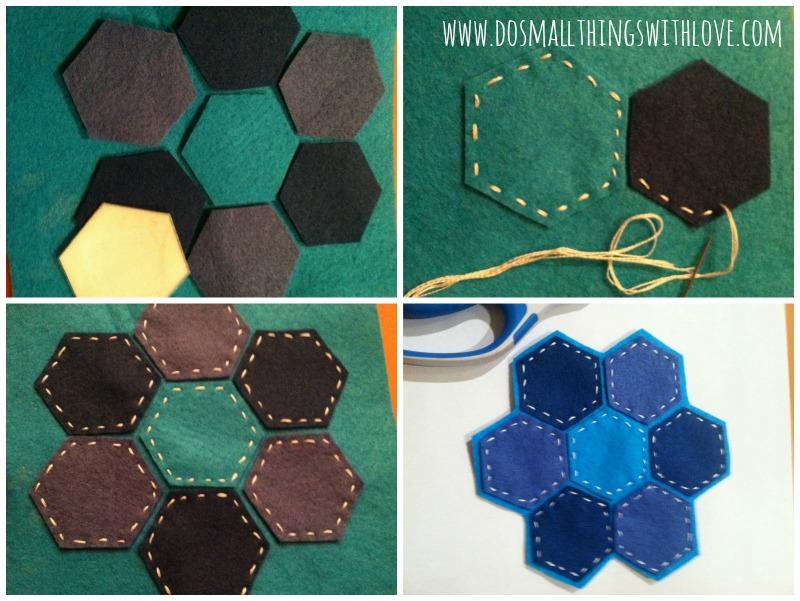 hexagon coaster collage