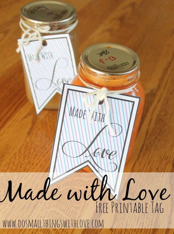 Made with love free printable tag