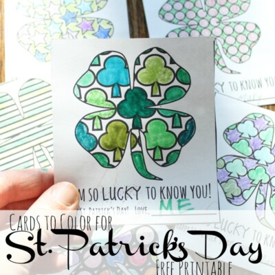 St. Patrick's Day Coloring Cards {free printable}
