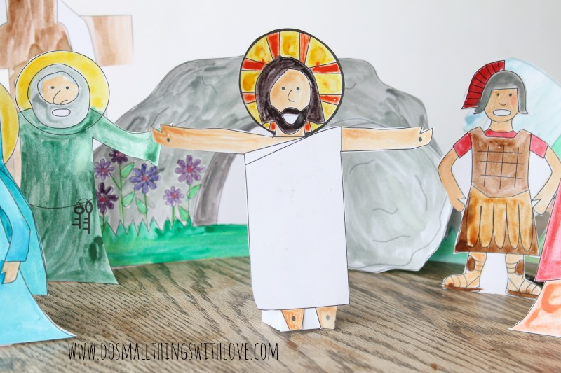 Easter Resurrection Set to color--free printable from www.dosmallthingswithlove.com