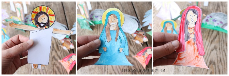 Easter Resurrection Set to print and color.  Free printable from www.dosmallthingswithlove.com