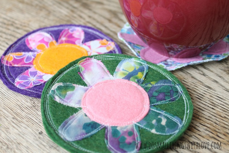 creamer and coasters close up