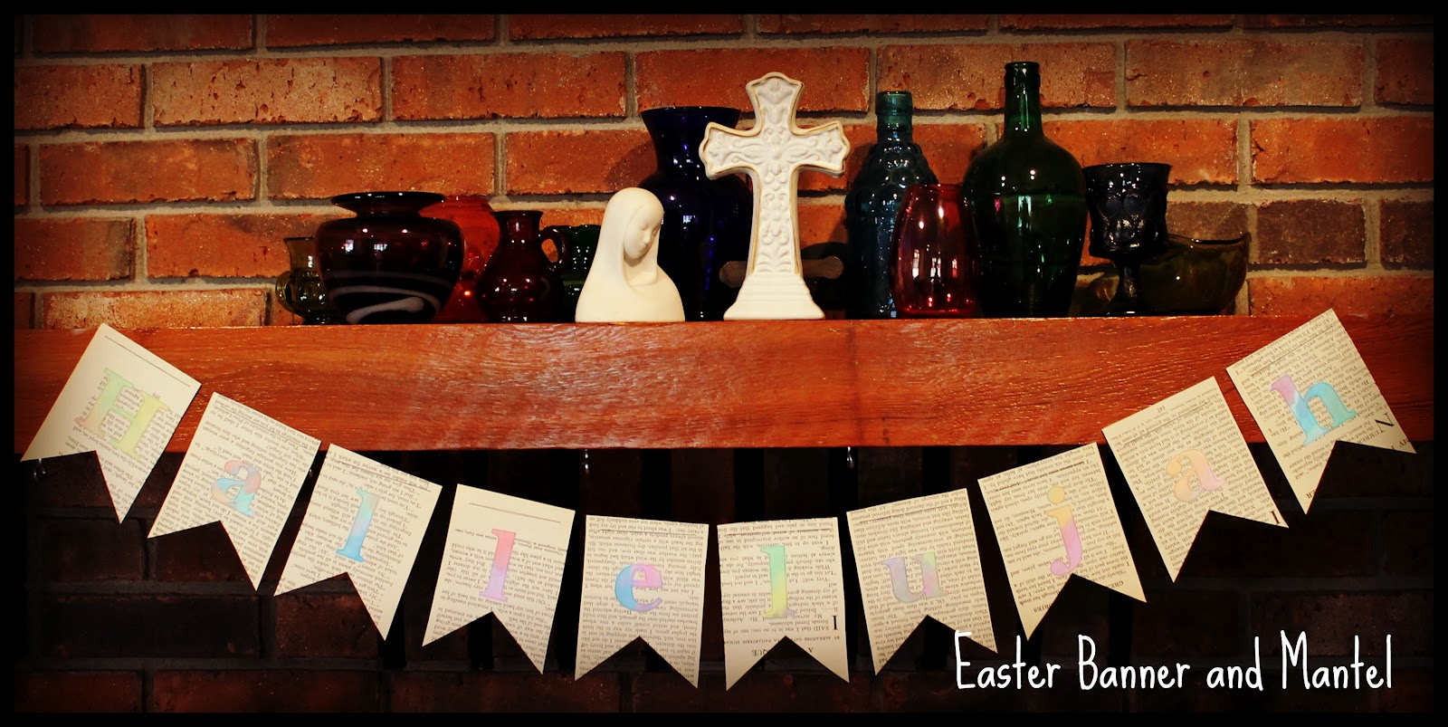 easter banner and mantel
