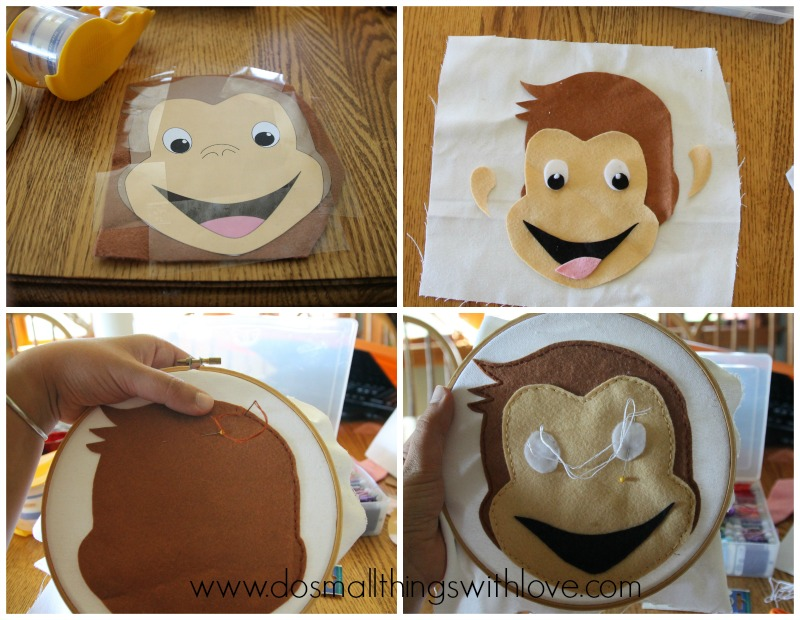 Curious George Felt Embroidery Hoop Art How to