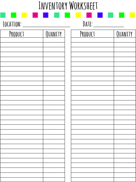 printable food inventory sheets Success