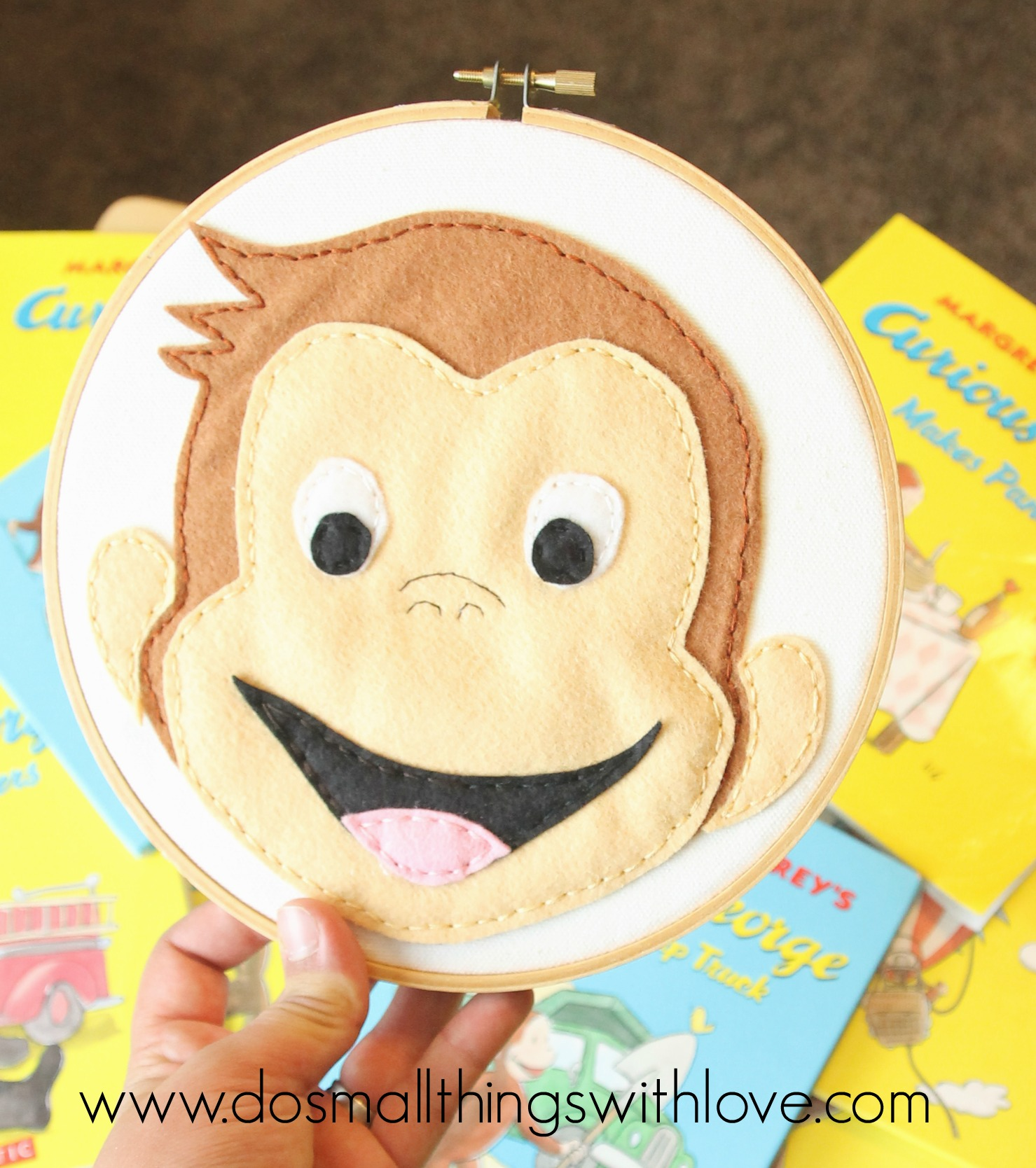 curious george embroidery hoop art