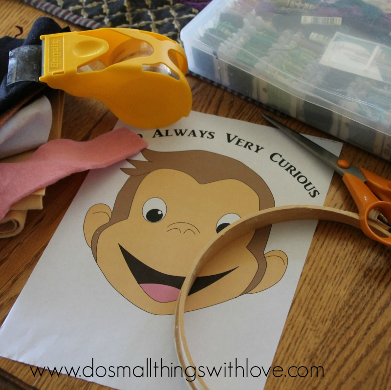 curious george felt embroidery hoop art supplies