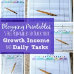 free blogging printables to track your blog's growth, income and daily tasks