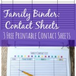free family binder 3 printable contact sheets