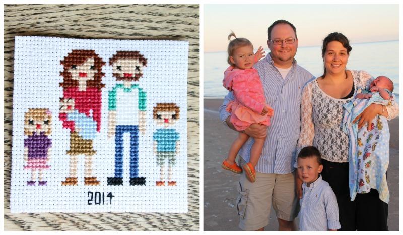 cross stitch family portrait 2014