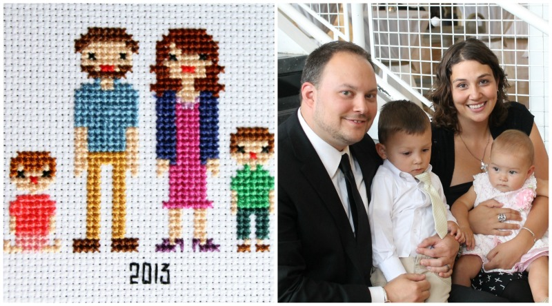 family portrait in cross stitch 2013
