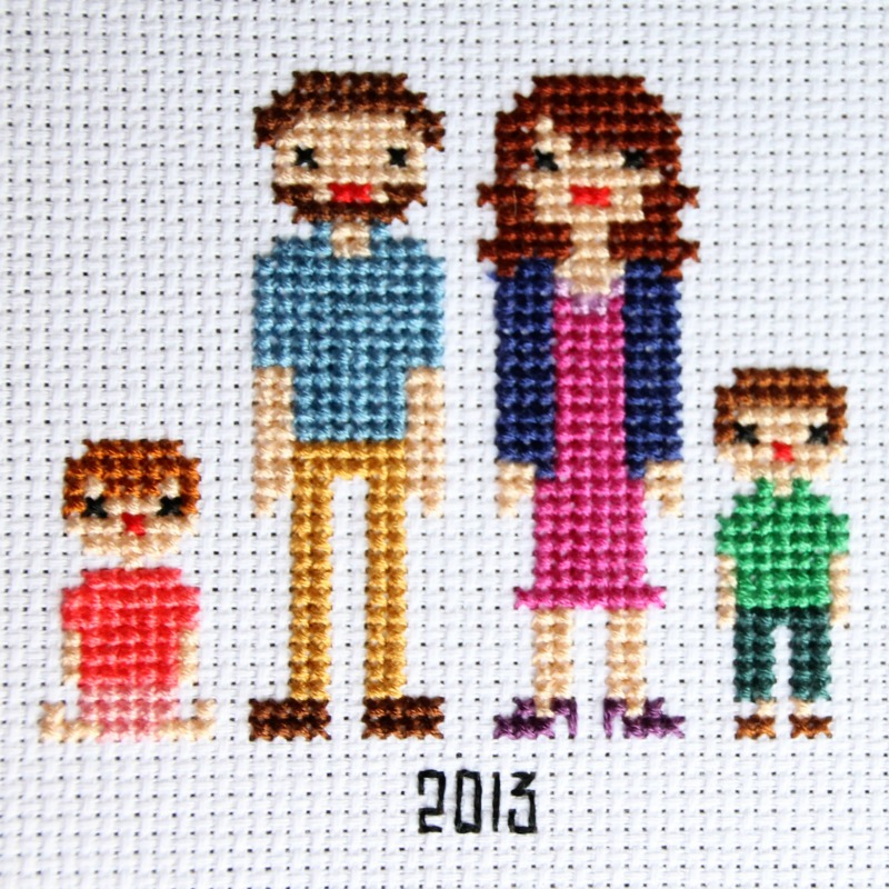 family portrait in cross stitch cg