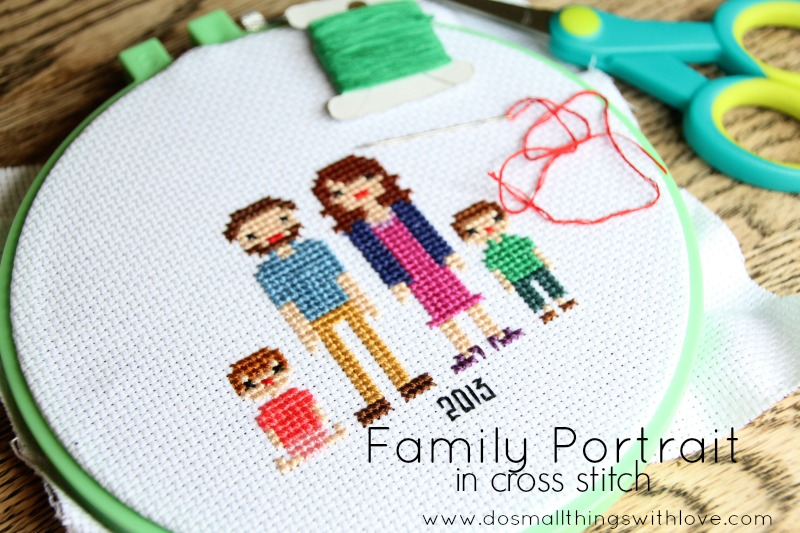 family portrait in cross stitch--tutorial