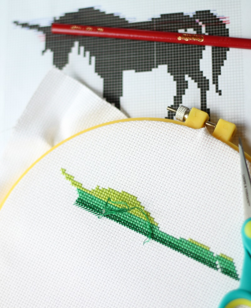 Unicorn counted cross stitch ombre
