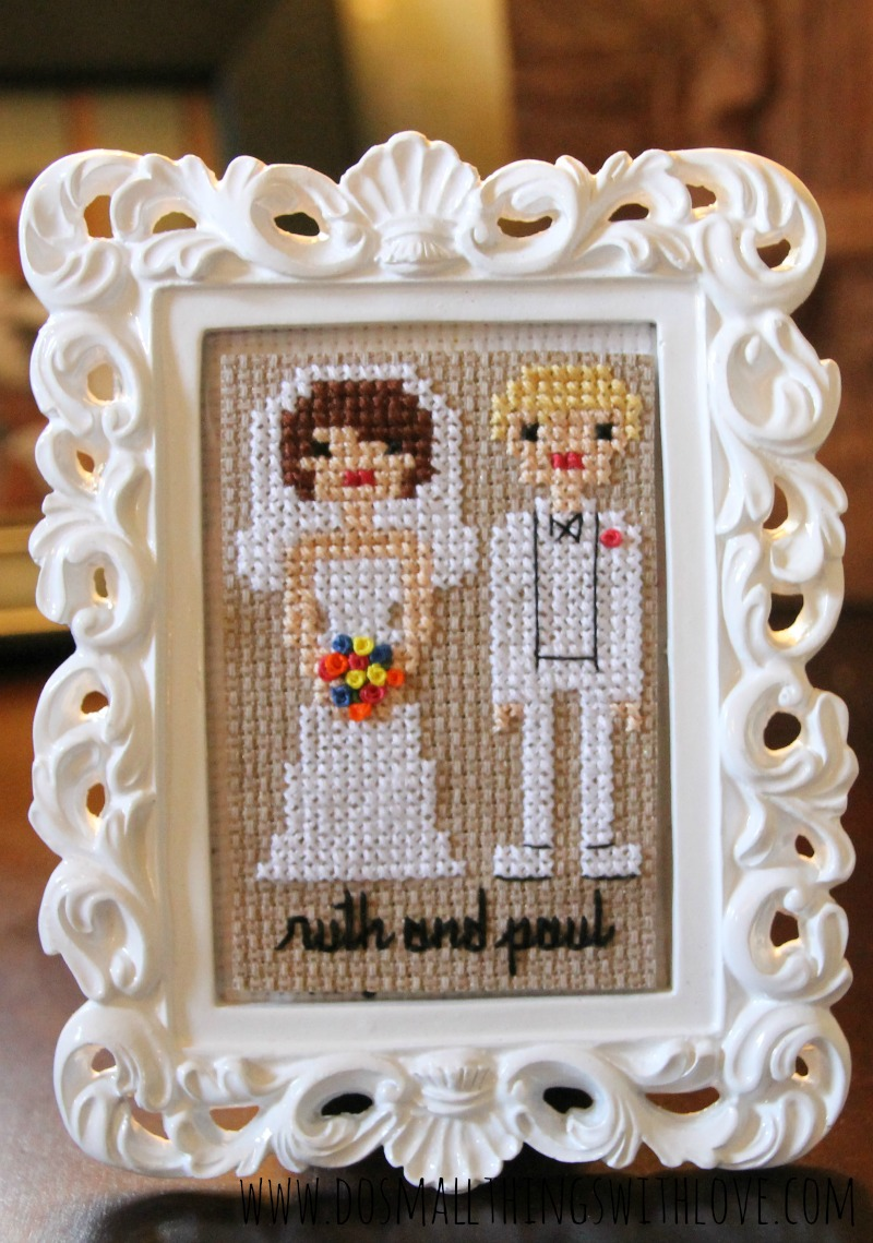 cross stitch wedding bride and groom with pattern
