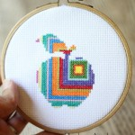 modern apple counted cross stitch pattern
