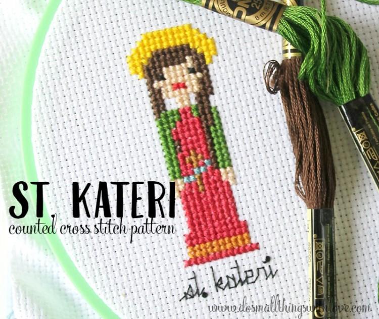 st. kateri counted cross stitch pattern