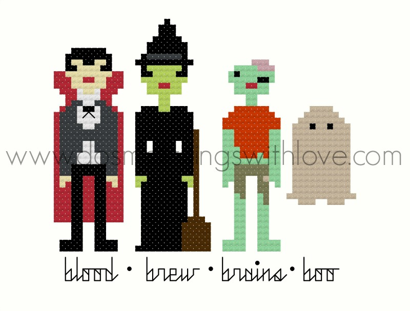 Pixel People Halloween Counted Cross Stitch Pattern