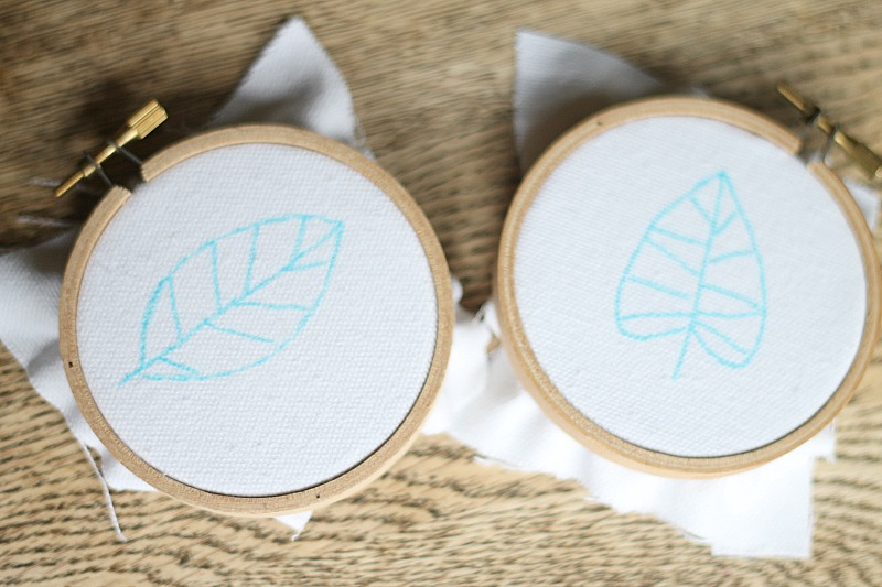 embroidered fall leaves drawn