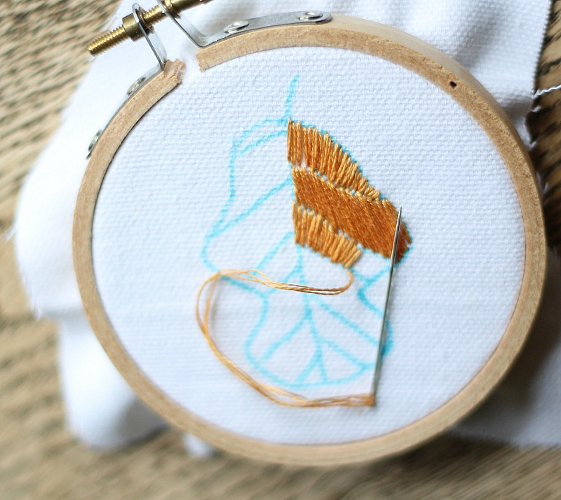 embroidered leaf how to