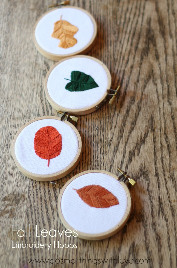 fall leaves embroidery hoops