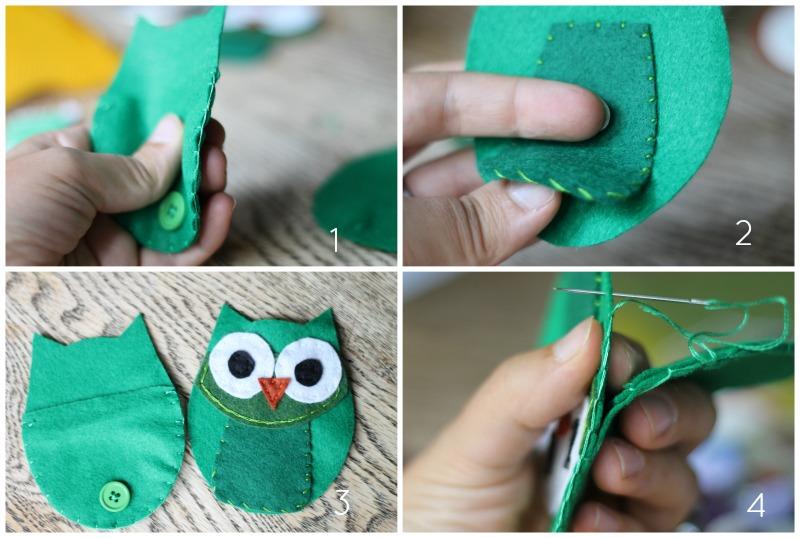 felt owl coin purse stitching