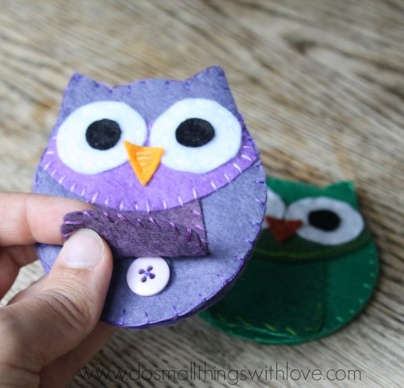 felt owl coin purse with hidden closure