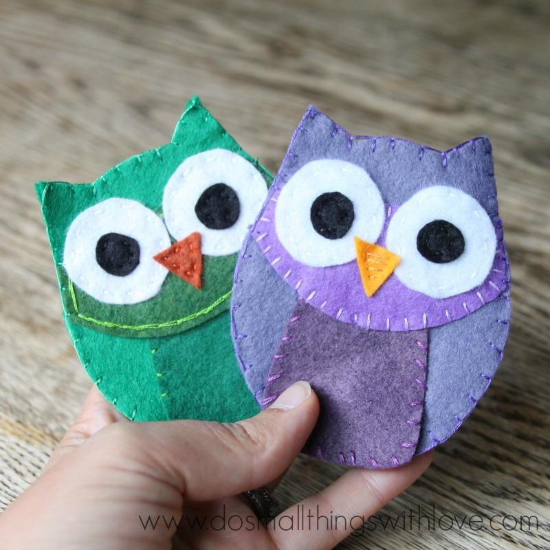 felt owl coin purse with template ll