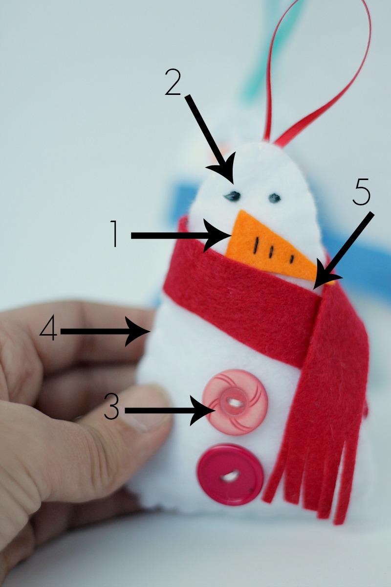 felt snowman ornament how to