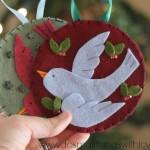 bird in flight felt Christmas ornament FREE TEMPLATE