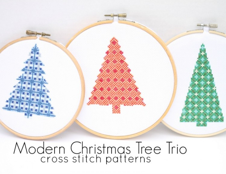 modern christmas tree cross stitch pattern trio