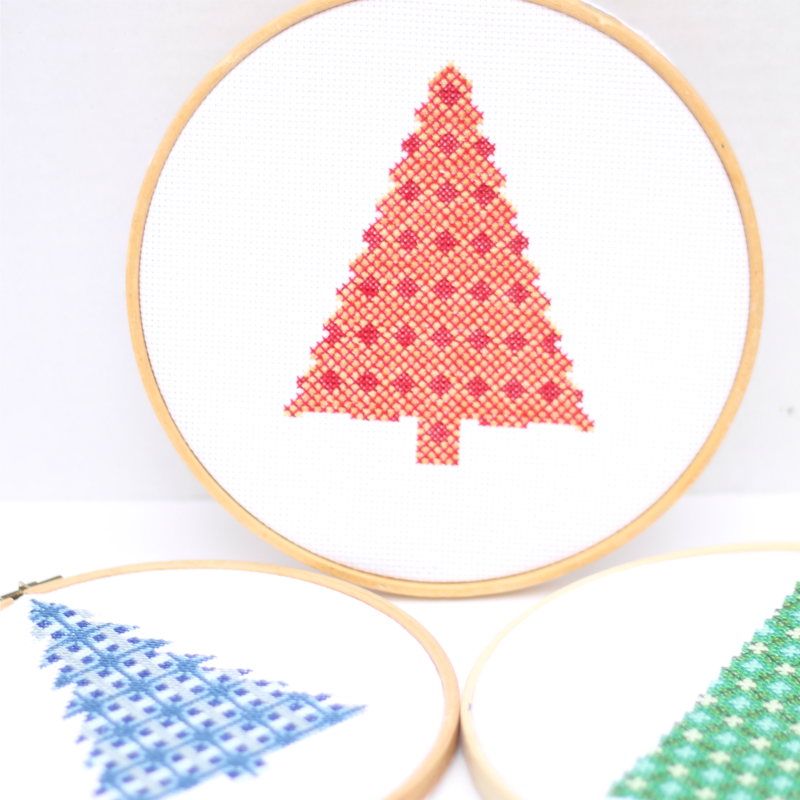 Modern christmas tree cross stitch patterns do small for Modern gold christmas tree