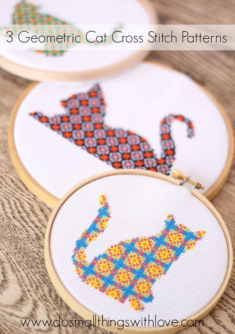3 geometric cat cross stitch patterns