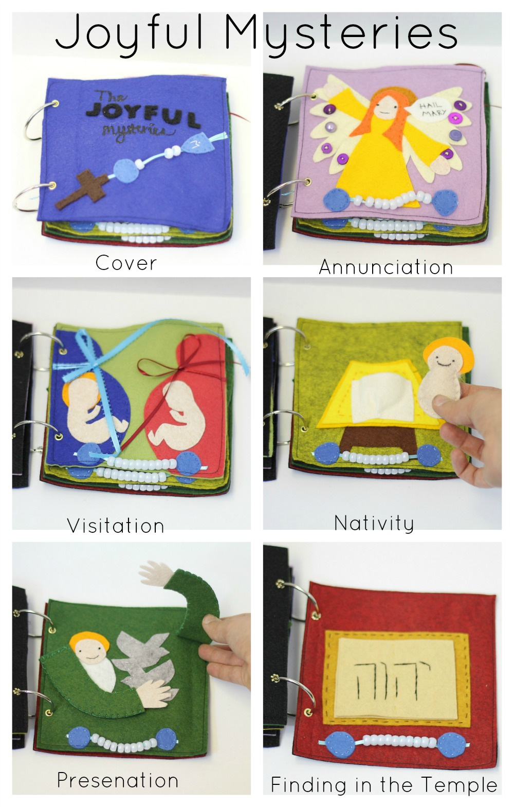 Rosary quiet book pattern catholic sprouts for Joyful mysteries coloring pages