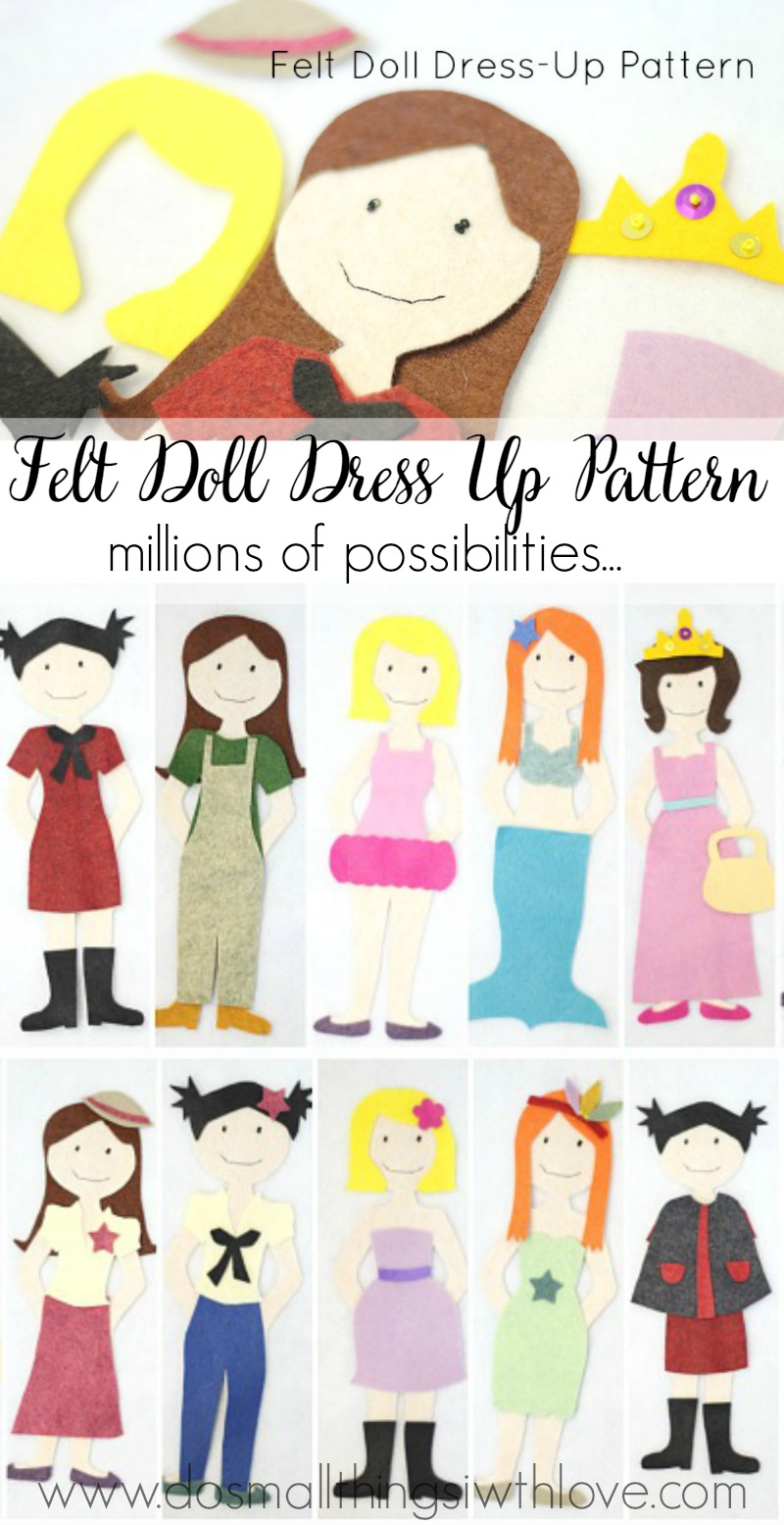 felt doll dress up pattern--available for only $1!