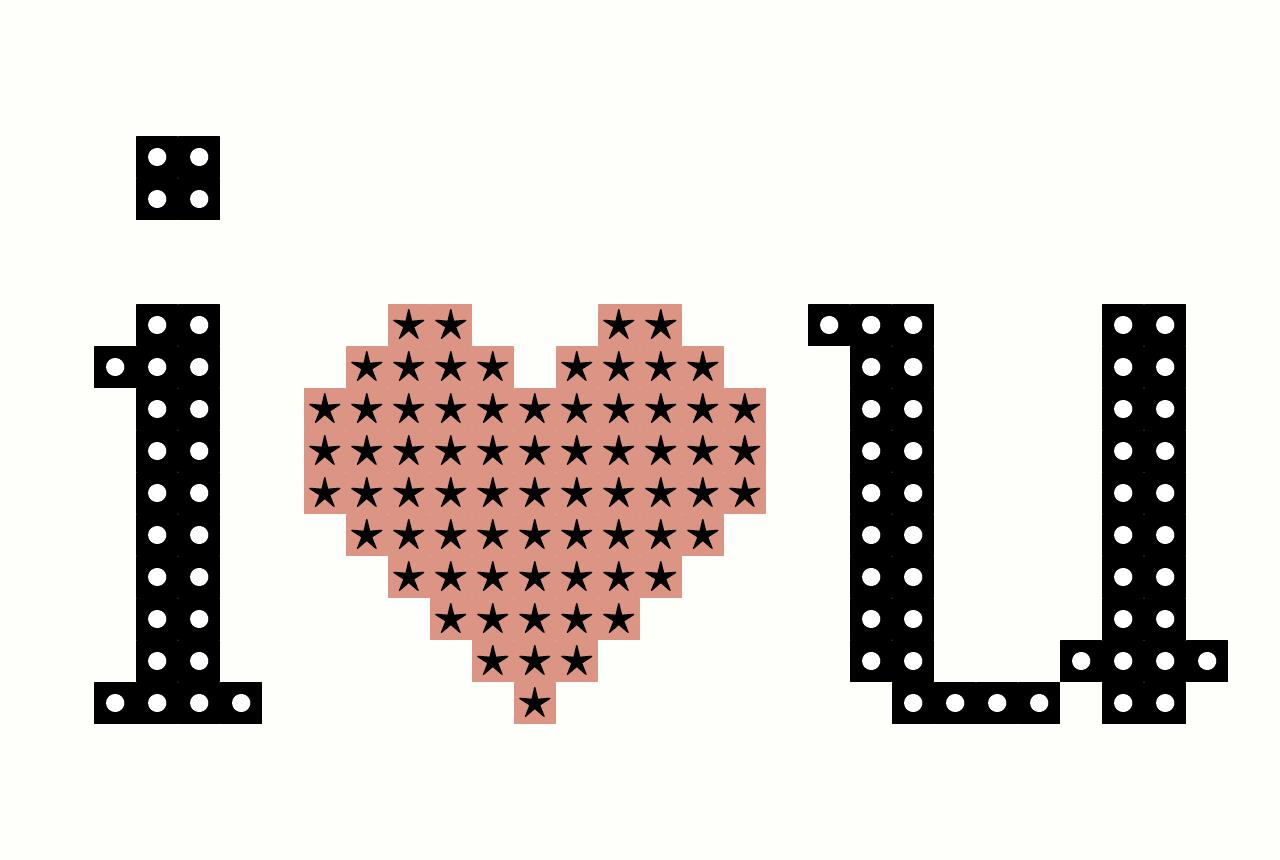 I heart U pattern
