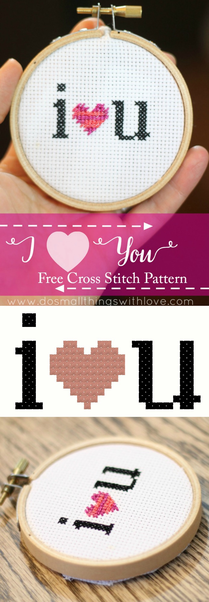 I heart you free cross stitch pattern for Valentines Day!