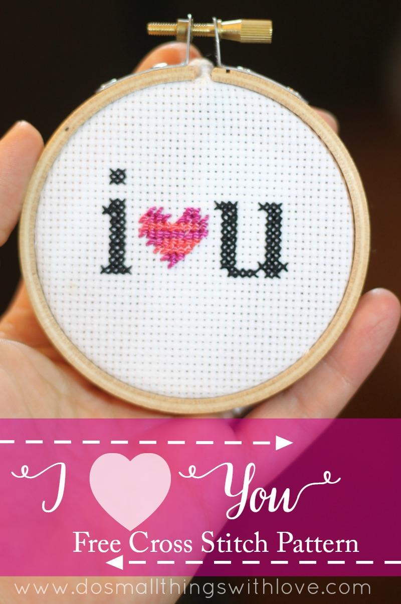 I heart you free cross stitch pattern